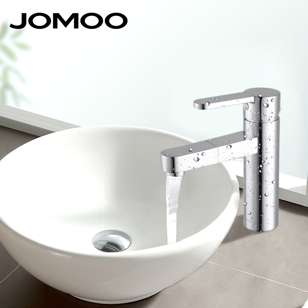 JOMOO Смеситель для раковины brushed nickel bathtub faucet long nose water outlet pipe shower mixers single handle control with handshower and bracket