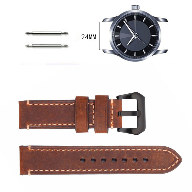 XIUMEI 24mm soft matte leather strap 22mm for heuer carrera 5 drive timer heuer monaco men s mechanical watch with black brown leather