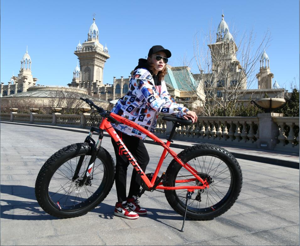KUBEEN Красный21speed Железо usd 6 fat wide fat fork 26 air suspension bicycle front fork for mtb 26 4 0 26 4 5 26 4 8 snow bike fat bike beach bike ebike