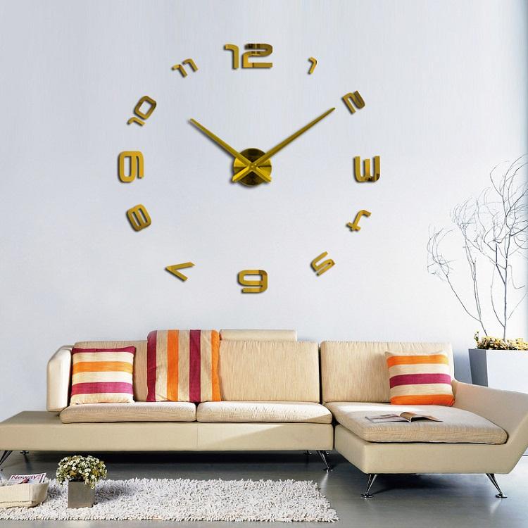 suwumu Золотой цвет настенные часы oem diy 3d relogio cozinha