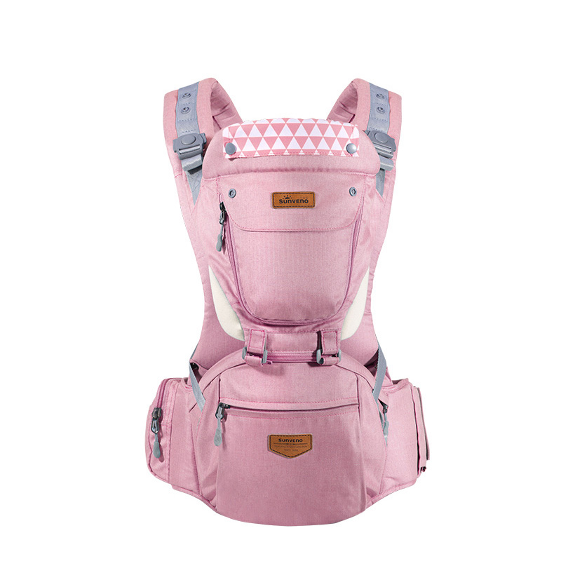 Розовый baby hipseat four seasons breathable baby shoulder carrier cotton baby carrier infant backpack for kids toddler sling md bd08