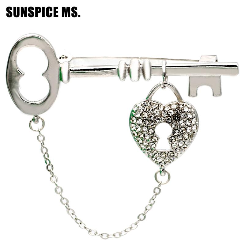 SUNSPICE MS Серебряный классический модные женские брелки для ключей стильные булавки для брошюр для девочек корсаж для ювелирных изделий hijab pin для аксессуаров дл