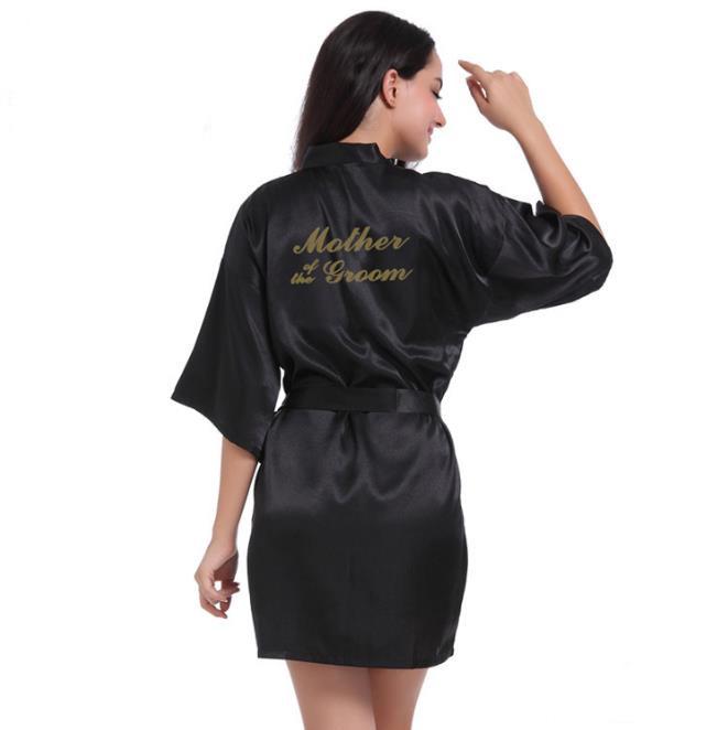 Рубашка Свадебный шелковый атлас Халат Халат Халат Новый oye черный M фото