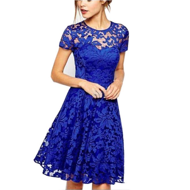 Плюс размер платья maxi платья кружевные платья королевское синее платье черное платье Colorful panda синий XXL фото
