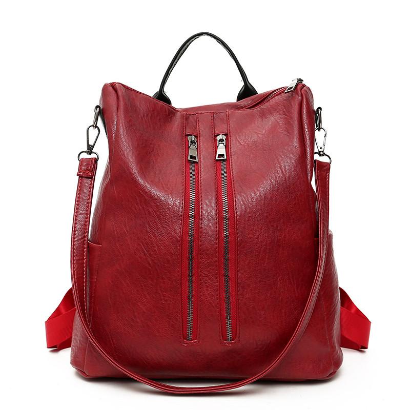HANEROU красный fashion genuine leather backpack women school bags for teenage girls backpacks high quality rivet ladies backpack sac a dos 2018