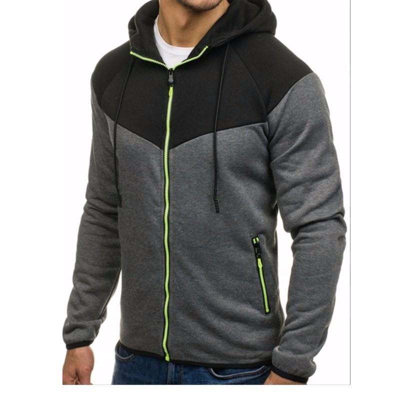 Мода Мозаика с длинным рукавом Повседневный свитер Осень с капюшоном Застежка-молния Кардиган Xuanxuan diary Глубокий серый M фото