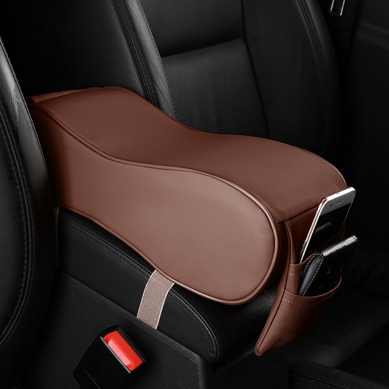 LunDa кофе autoyouth pu leather car armrest pad memory foam universal auto armrests covers with phone pocket for vw bmw audi honda