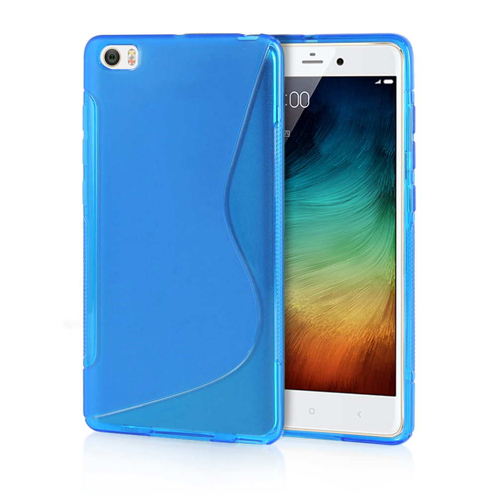 MOONCASE s shape gel tpu case shell for iphone 5c blue with round cutout