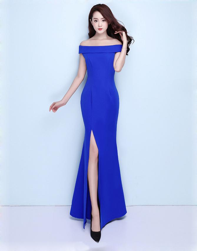 Русалочное вечернее платье Kalinnu Королевский синий L фото