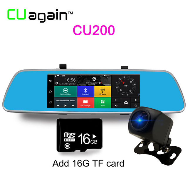 CU20016G 1080p mymei 5 inch multifunction car dvr voice control android gps bluetooth rearview mirror monitor dual lens 1080 p video camera