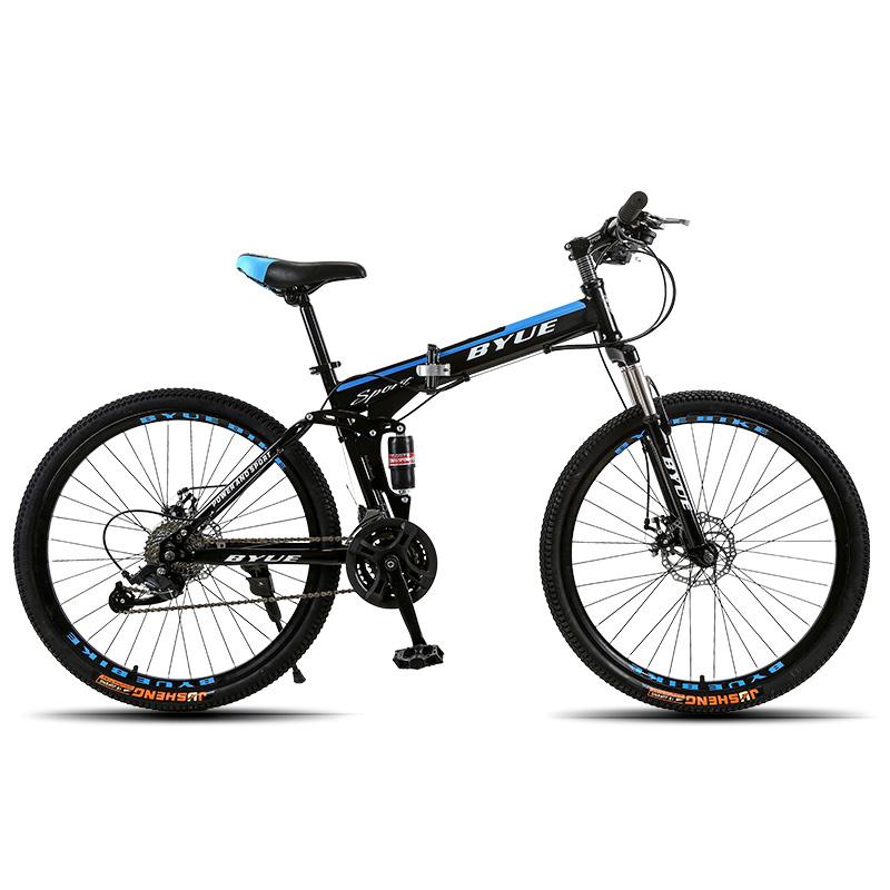BYUEBIKE темно - синий спицы колеса 21 скорость behee 26 дюймы 21 скорость складной горный велосипед средняя ось двойной дисковый тормоз