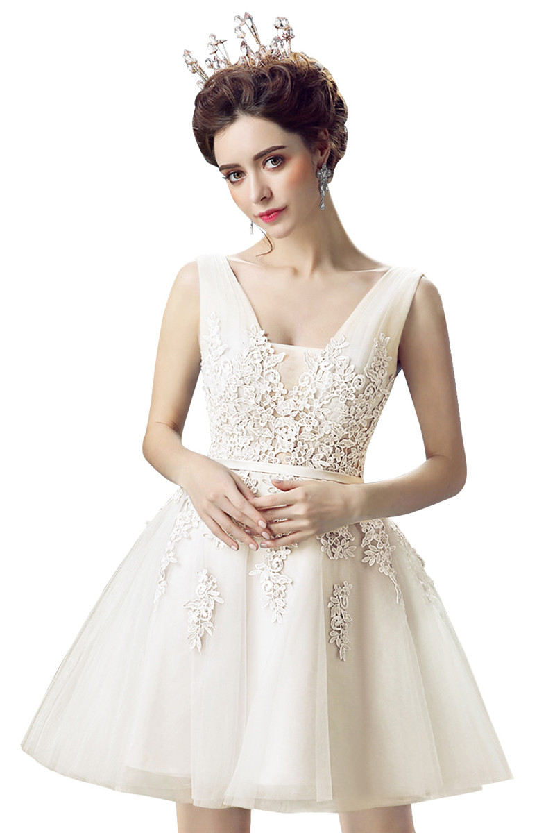babyonlinedress слоновая кость США 4 Великобритания 8 ЕС 34 vestido de festa curto mini lace short homecoming dresses 2018 tulle appliques v шея бальное платье lace up 8 й класс формальные платья