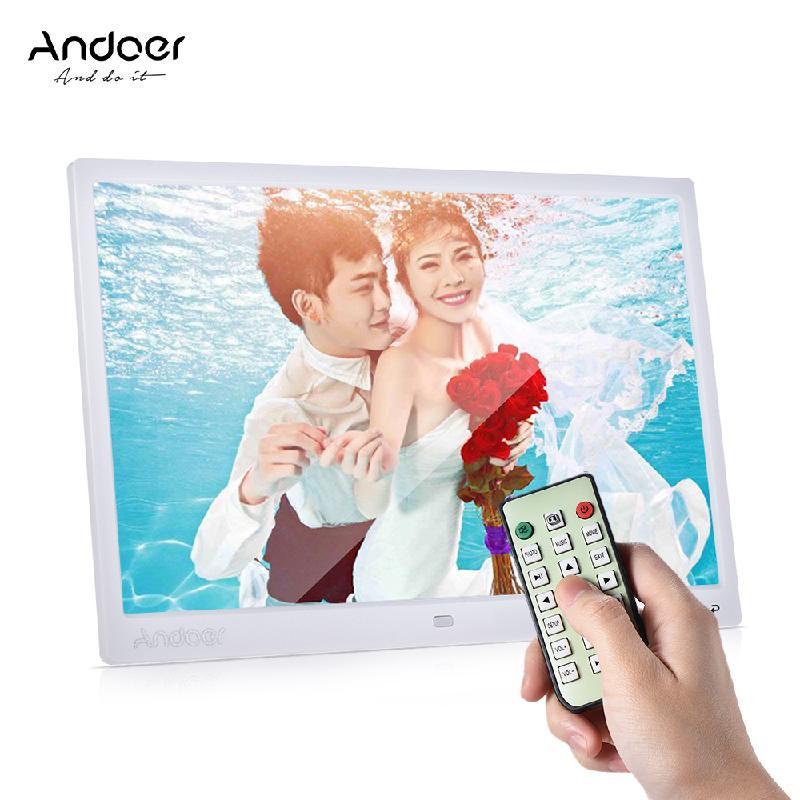 ANDOER White Стандарт Великобритании 12 inch high definition widescreen multi function digital photo frame electronic photo album video advertising machine