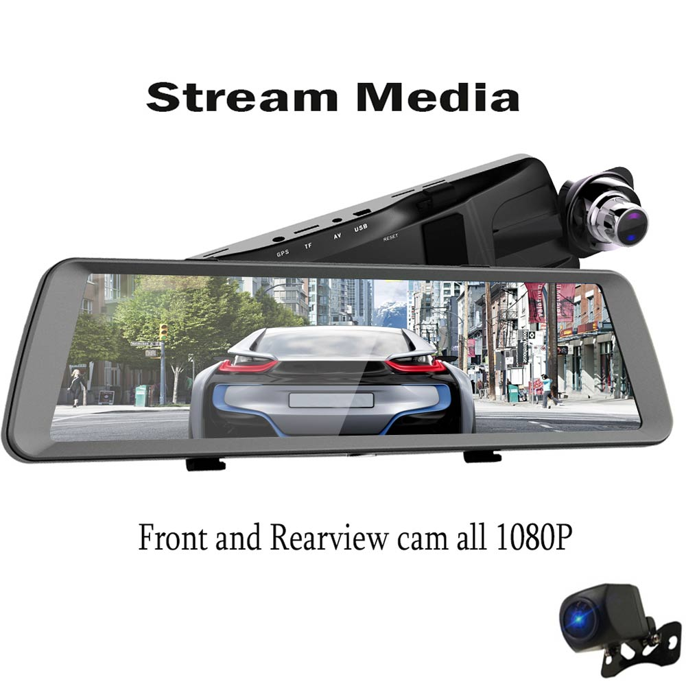 K19 1080p relaxgo 5 android touch car dvr gps navigation rearview mirror car camera dual lens wifi dash cam full hd 1080p video recorder