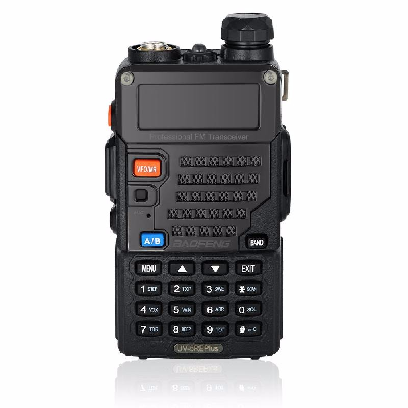 HOMEGEEK Black baofeng uvb2 plus vhf uhf dual band programmable walkie talkie two way radio fm transceiver handheld dual standby interphone with flashlight