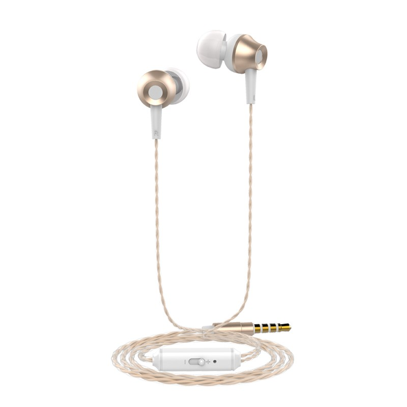 GANGXUN Золото In Ear Earphone Metal Heavy Bass Stereo Headset 35mm Gilded Wired Control Earbu