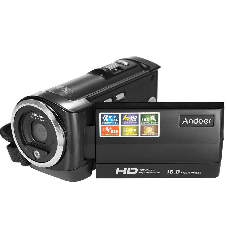 ANDOER черный hd 55e 2 7 tft cmos 16mp interpolation digital camcorder w 16x digital zoom black