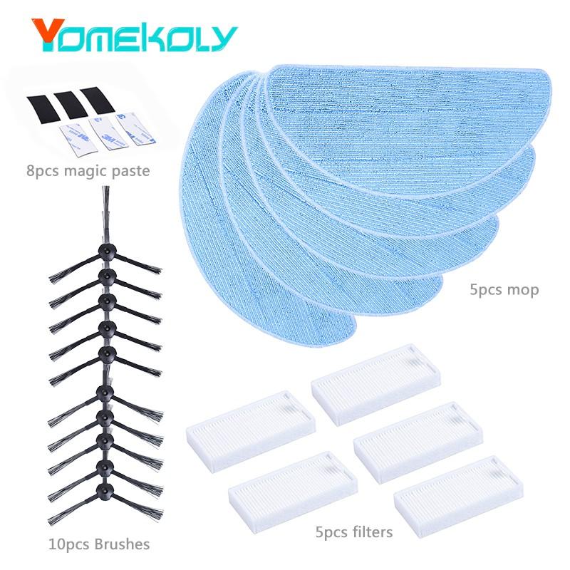 yomekoly черный Китайский стандарт 12pcs vacuum cleaner filters hepa filter for ecovacs cr130 cr120 cen540 cen250 ml009 chuwi v3 ilife v5 v3 v5pro cleaner parts