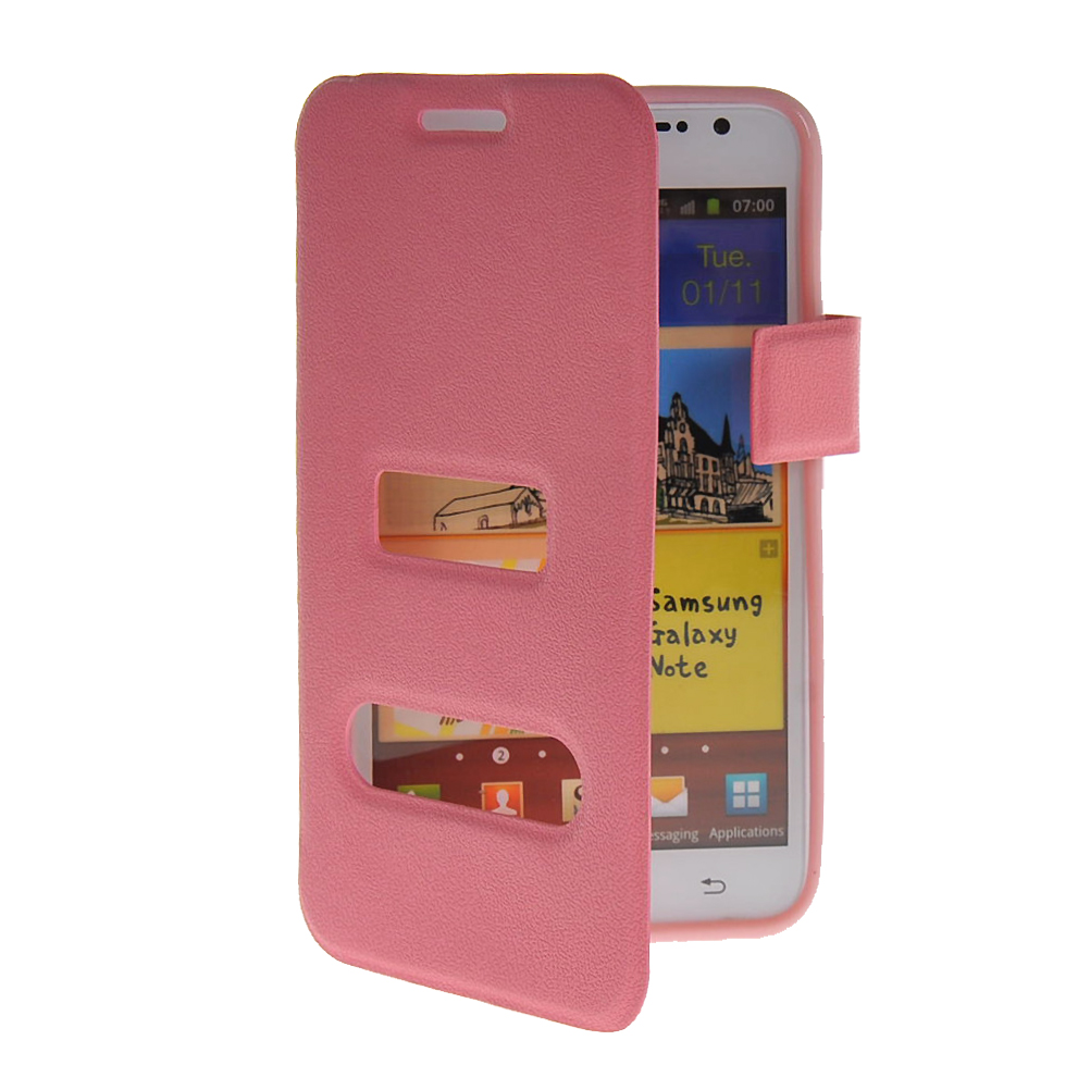 MOONCASE mooncase view window leather side flip pouch hard board shell back чехол для samsung galaxy note 2 n7100 pink