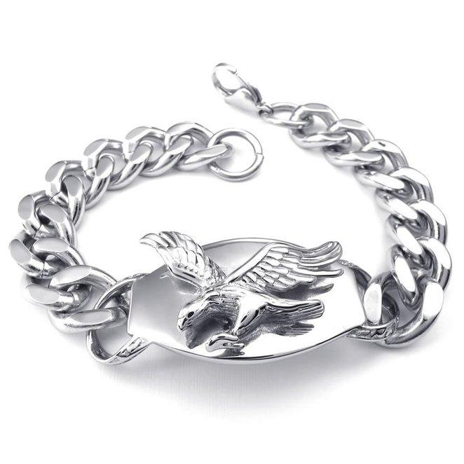 Hpolw hpolw классическая мужская серебро нержавеющая сталь байкер ссылку омара застежками браслет