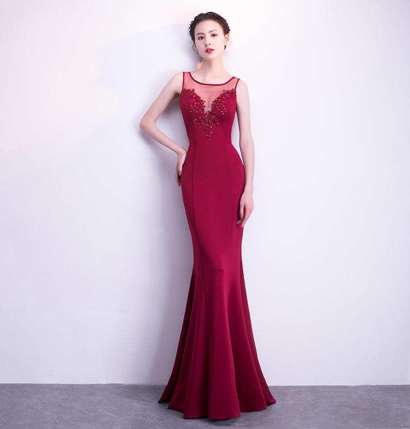 Новое корейское сексуальное длинное вечернее платье Fishtail Kalinnu Красное вино S фото