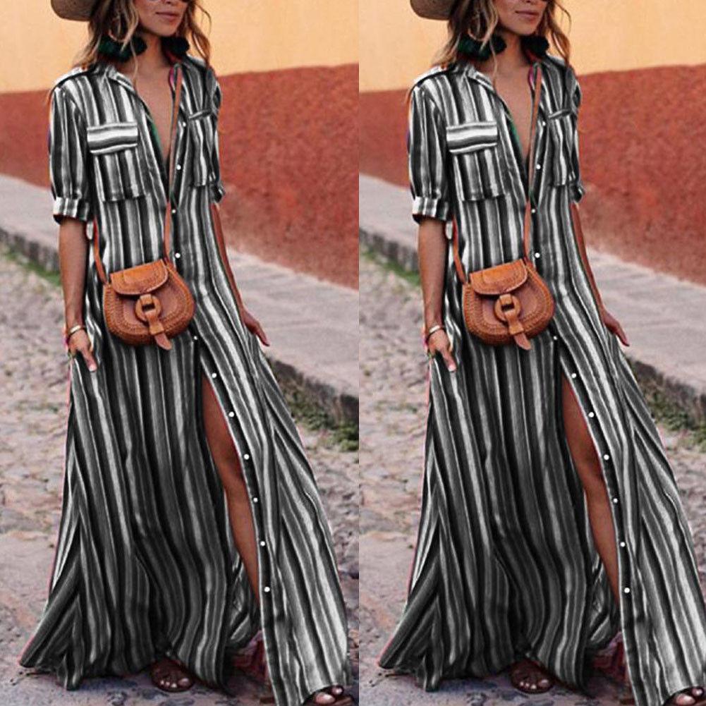 CANIS черный XL jastie embroidered women maxi dress v neck batwing sleeve loose plus size summer dresses drawstring waist boho beach vestidos