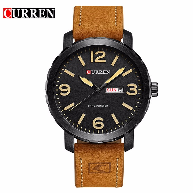 CURREN 01 sanda mens watches top brand luxury ultra slim calendar display quartz watch men business leather band relogio masculino