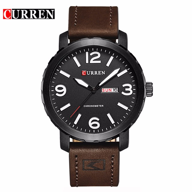 CURREN 02 sanda mens watches top brand luxury ultra slim calendar display quartz watch men business leather band relogio masculino