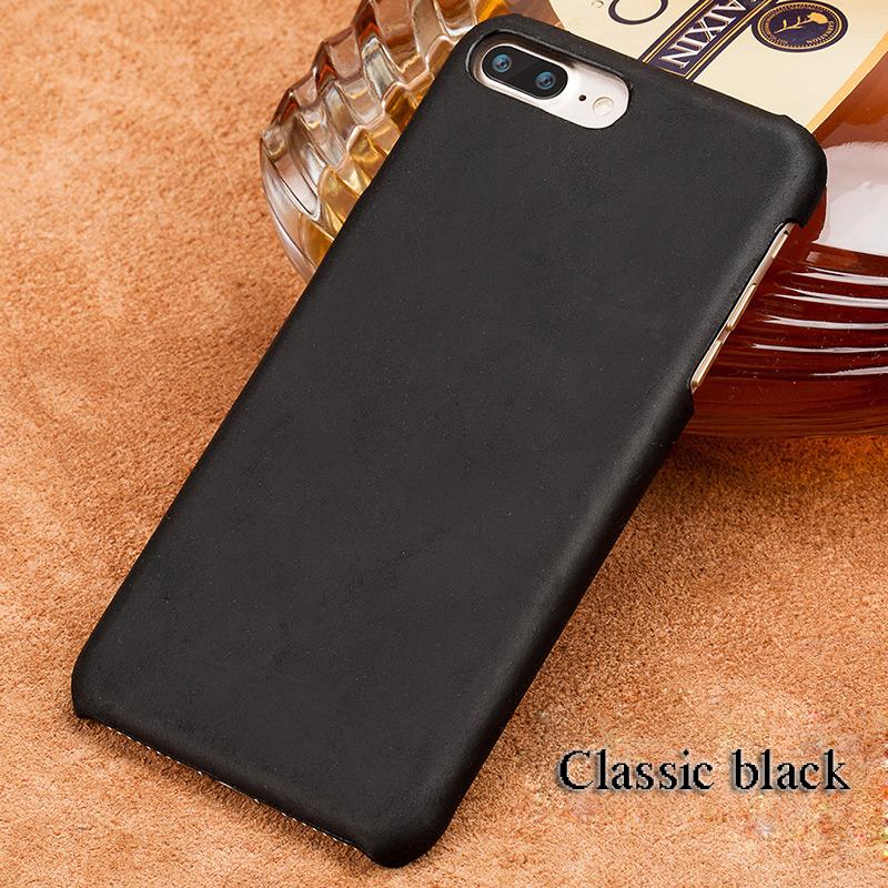 langsidi черный iPhone X чехол из натуральной кожи для iphone x case crazy horse leather back cover для 6 6s 7 8 plus case