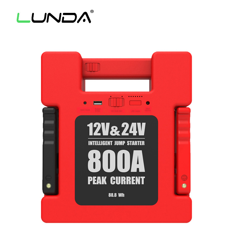 LunDa Red Стандарт AU new 12v 30000mah portable car jump starter vehicle battery power bank multifunction car charger emergency power supply hot sale