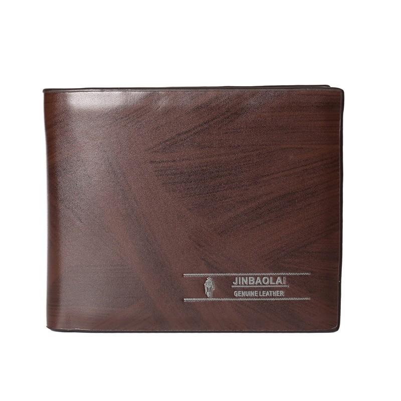 Мужские кожаные кошельки за деньги и карты JINBAOLAI Кофе Вертикальные кошельки Длина 9,5 см, ширина 11,5 см, высота 2 см фото