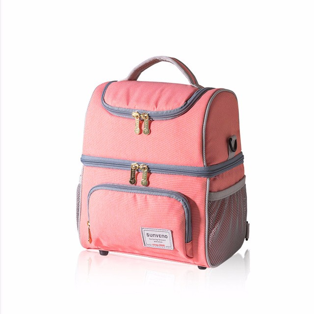 sunveno oRange1 Двойное плечо newest insulated cooler thermal picnic lunch box waterproof tote lunch bag for kids adult outdoor bags picnic bag insulated bags