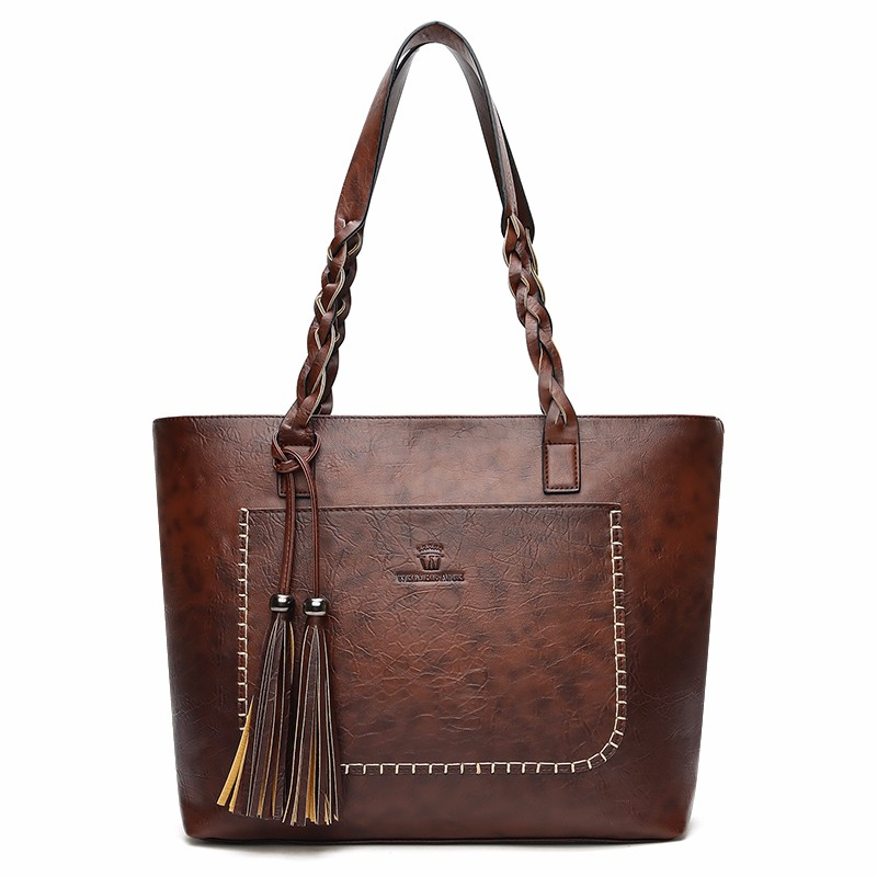 Kavard тёмно-коричневый XL brand genuine leather women handbags tote bag female tassel hasp women shoulder bags single ladies crossobdy bag bolsas feminina