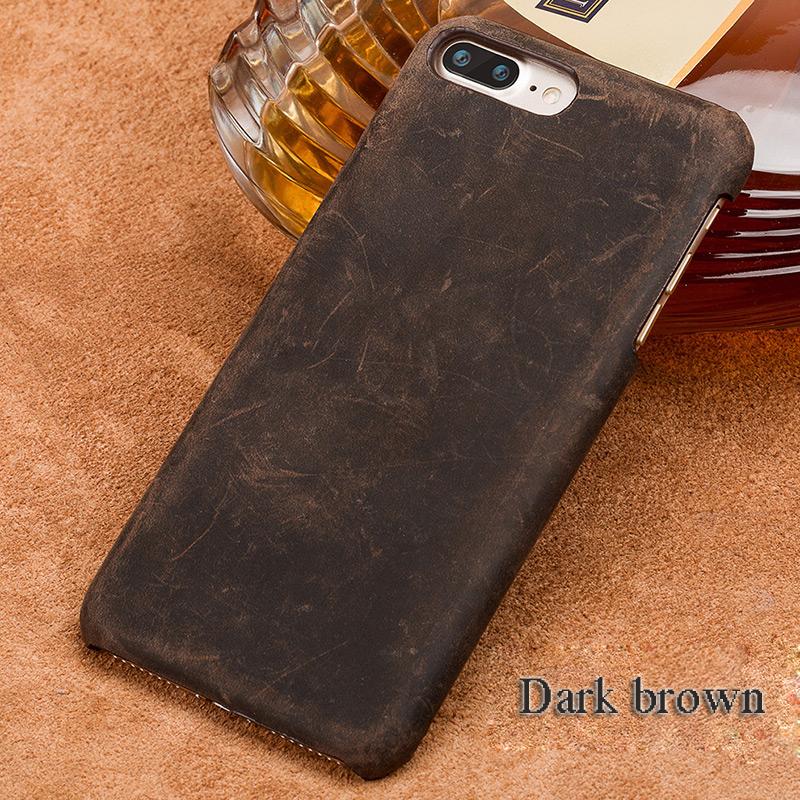 langsidi коричневый iPhone X чехол из натуральной кожи для iphone x case crazy horse leather back cover для 6 6s 7 8 plus case