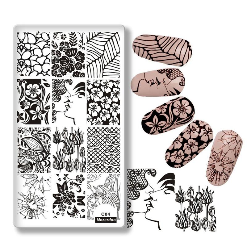 трафарет для ногтей diy valentine gift heart love designs rose rectangle stamping plate code opera mask jewelry plant nail art image plate mezerdoo3