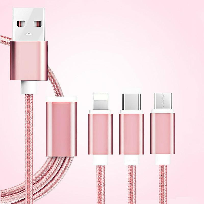 Usb кабель micro usb кабель usb c usb type c громоотвод кабель тип c кабель AFILADO Розовое золото 12m фото
