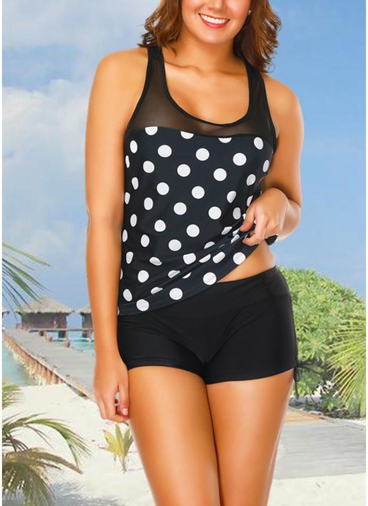 babyonline DRESS 1201 Черный S Спортивный танк Top Boxer Polka Dot Print Swimsuit