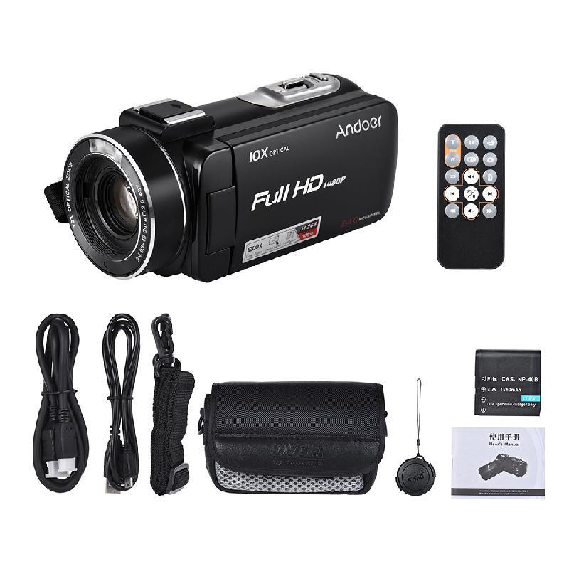 Цифровая видеокамера 1080P 24-мегапиксельная ANDOER черный портативный фото