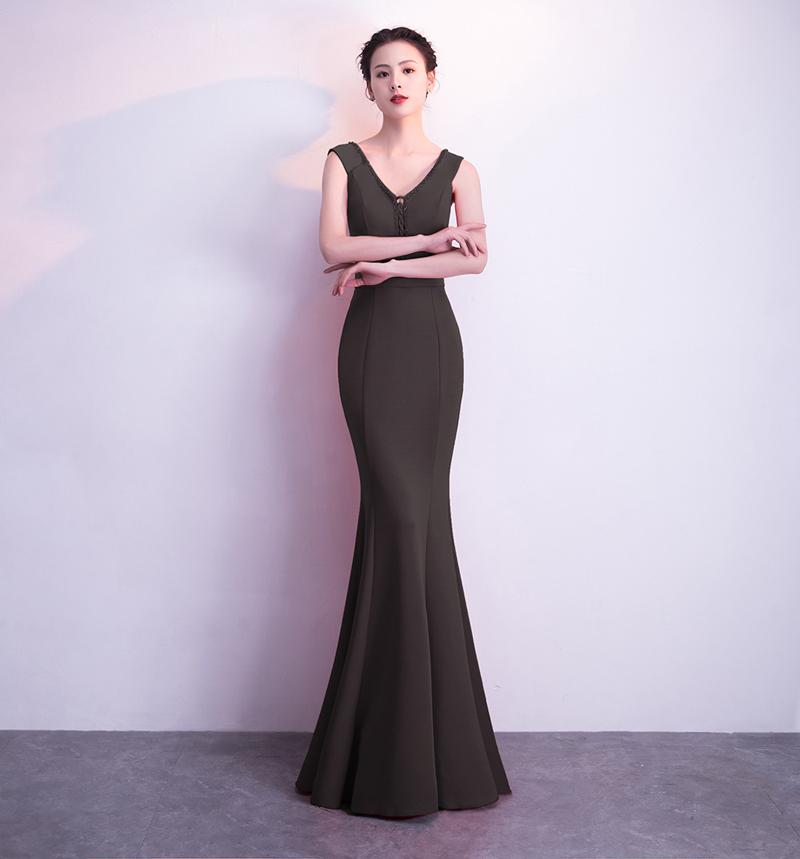 Элегантное длинное вечернее платье для недоуздок Kalinnu черный L фото