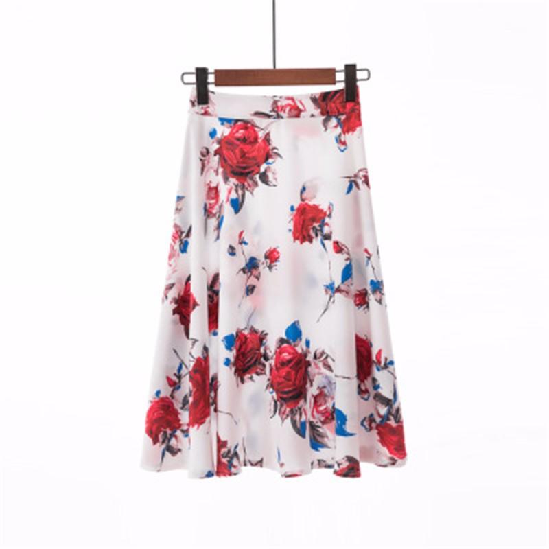 Юбка миди юбка эластичная талия высокая талия юбка юбка лето SAKAZY Серебристо-серый M фото