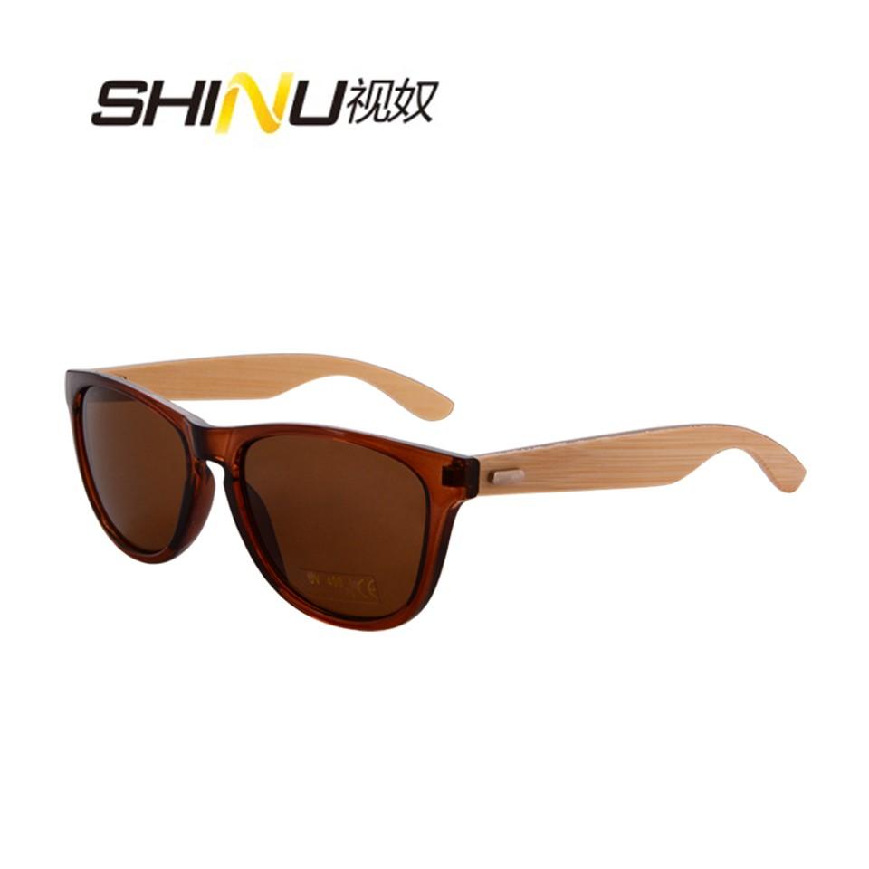 SHINU прозрачные коричневые рамки бамбуковые ножки коричневые линзы солнцезащитные очки tomas maier солнцезащитные очки