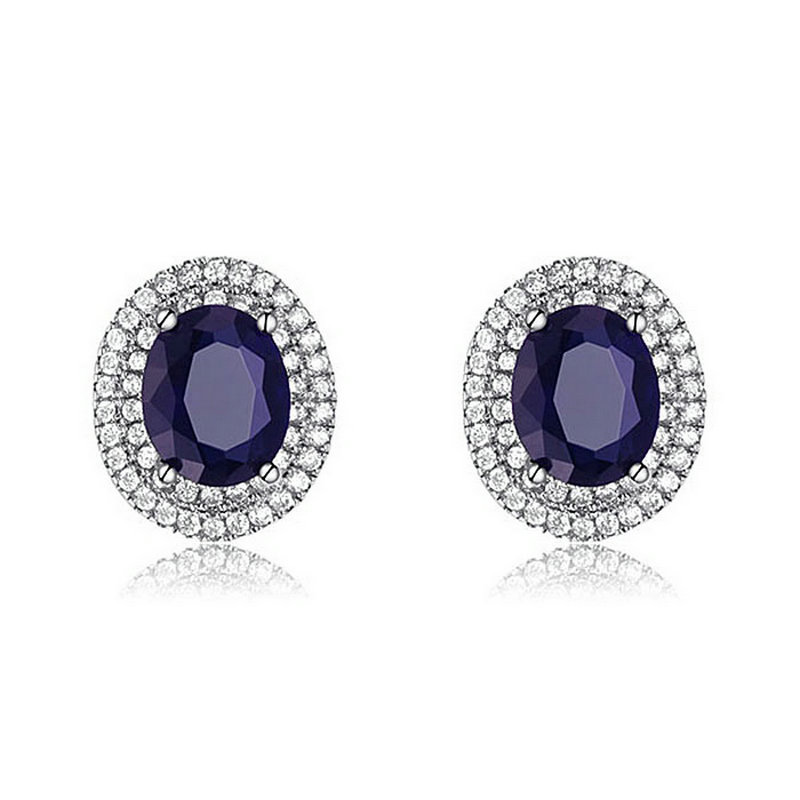 yoursfs Blue yoursfs fashion 18k rose gold plated white black flower zircon stud earring