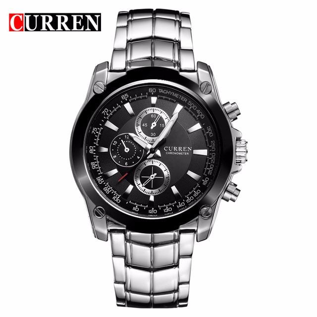 CURREN черный relogio masculino 2018 hot skmei fashion men watches quartz watch brand luxury genuine leather casual male clock wrist watch