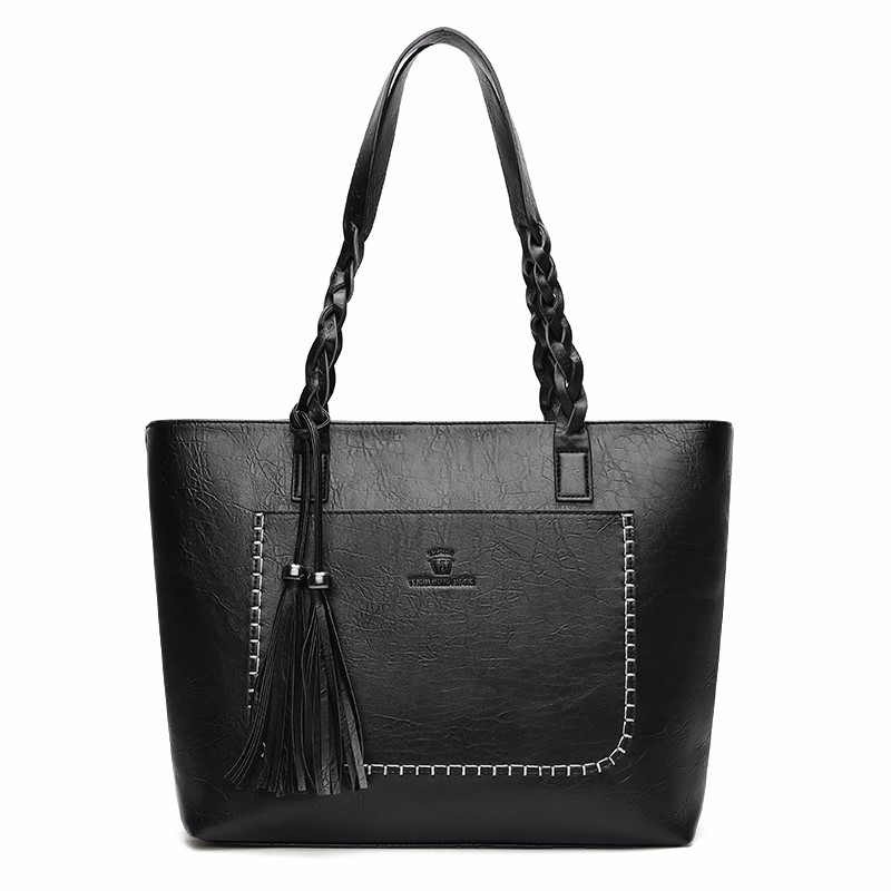 Kavard Природный черный цвет XL solid luxury handbags women bags designer 2017 autumn black pu leather tassel shoulder bag female women tote bag sac a main