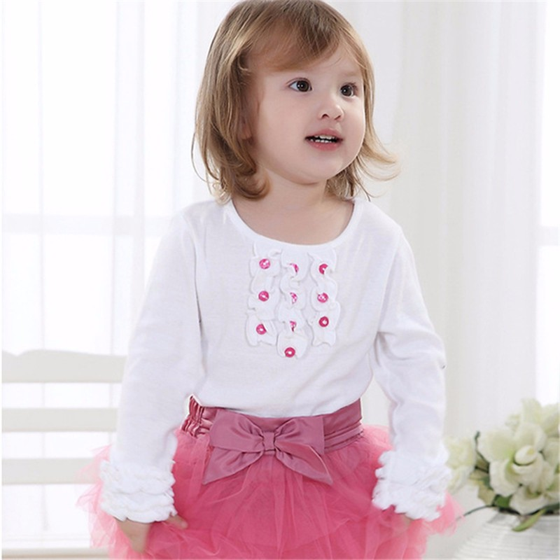 sunveno White 6M new stylish baby girl toddler long sleeve sweat shirt letter printed tops striped pants trousers outfits clothing 2pcs set 6m 4t