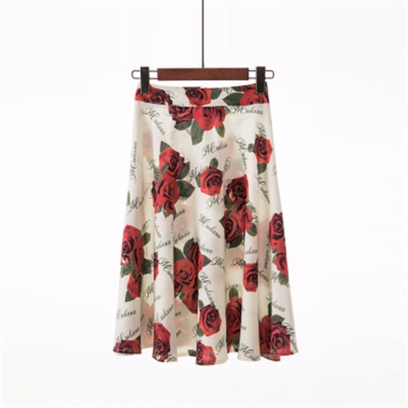 Юбка миди юбка эластичная талия высокая талия юбка юбка лето SAKAZY Серый XXL фото