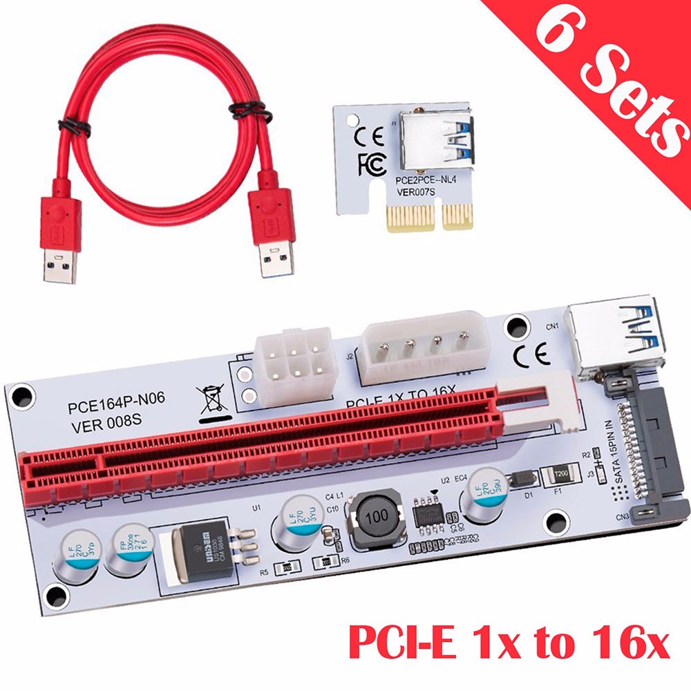 Oak Leaf Red riser card 60cm pcie pci e pci express card 1x to 16x usb 3 0 data cable sata to 6pin ide power supply for miner machine