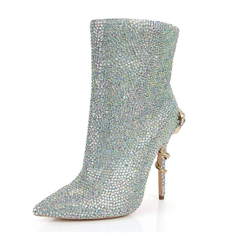 Сапоги Сапоги на высоком каблуке Обувь на высоком каблуке Направленная носка Цветная молния Застежка-молния TortiWeihanPeng Multi-Color 7,5 фото