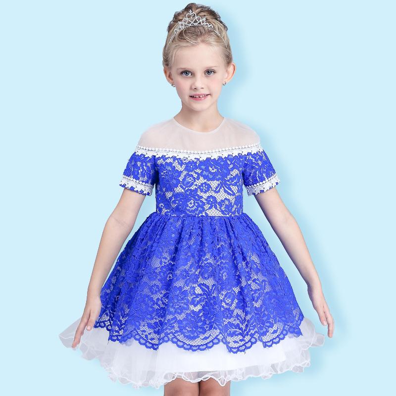 TOSJC A10 6T 140cm flower girl dresses wedding easter junior bridesmaid white curl princess girl dress