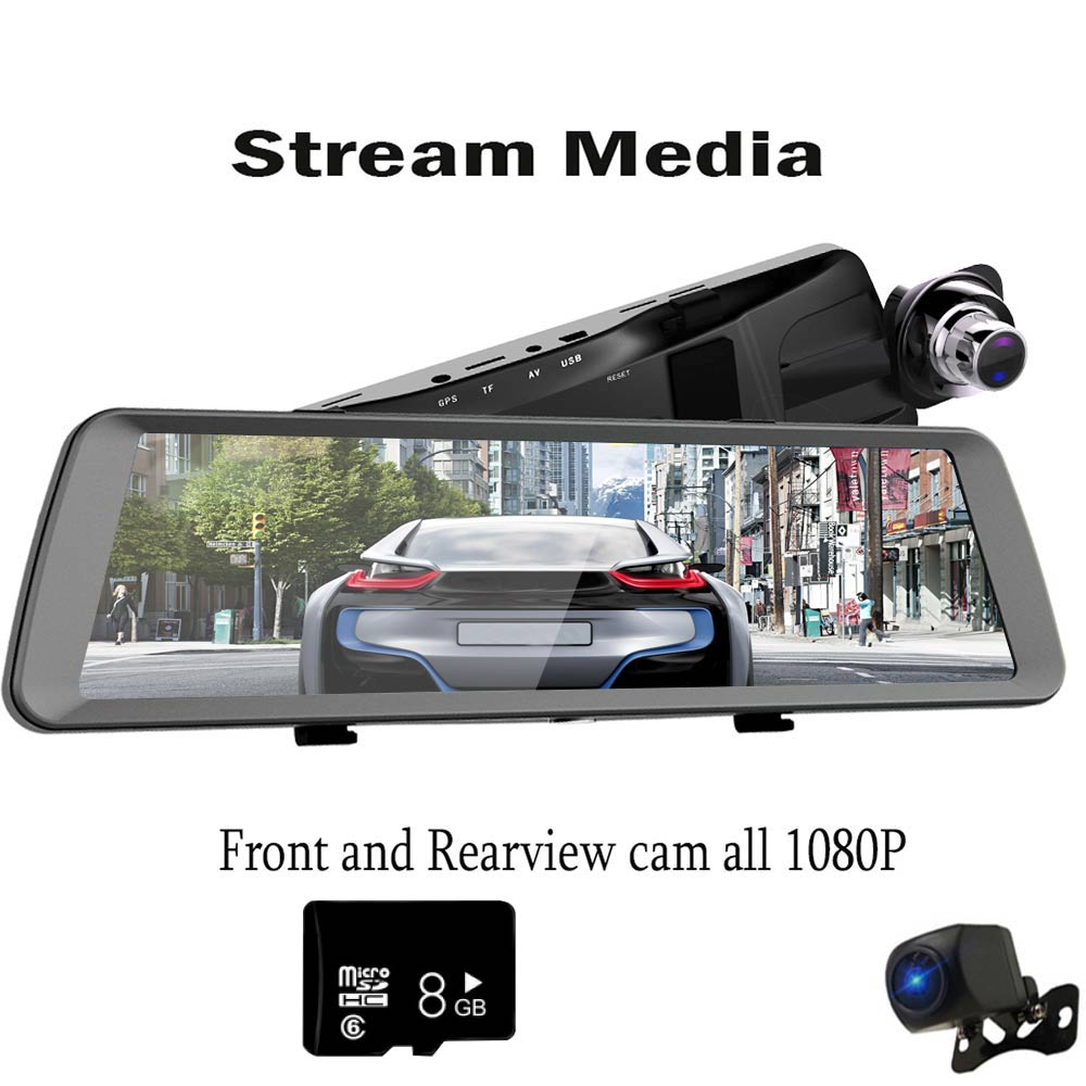 K198G 1080p relaxgo 5 android touch car dvr gps navigation rearview mirror car camera dual lens wifi dash cam full hd 1080p video recorder